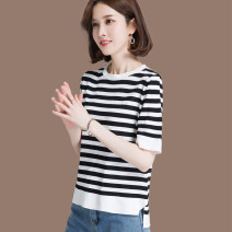 T-shirt Black, white S,M,L,XL,2XL,3XL Summer 2020 Short sleeve Crew neck easy have cash less than that is registered in the accounts routine commute silk 30% and below 25-29 years old Korean version youth Thick horizontal stripe Sphinx Dn8812-30-3m short sleeve T-shirt for women Asymmetric, threaded