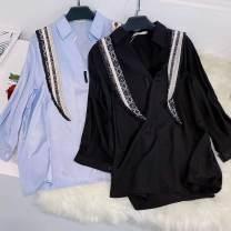 Women's large Spring 2021 Black, blue, blue for one week Big XL, big XXL, 3XL, 4XL shirt singleton  commute moderate three quarter sleeve Solid color Medium length 25-29 years old