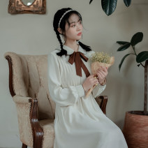 Dress Spring 2021 Apricot brooch, light green brooch, apricot bow, light green bow S,M,L longuette singleton  Long sleeves Sweet Double collar High waist Solid color Socket A-line skirt routine Others Type A Plain left bank Button Chiffon polyester fiber college