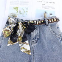Belt / belt / chain Chiffon female belt ethnic style Single loop Children, youth, youth, middle age, old age Flower design printing 3cm