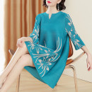 Dress Spring 2021 Middle-skirt singleton  three quarter sleeve commute Crew neck Loose waist Decor Socket A-line skirt other Hanging neck style 40-49 years old Type A lady More than 95% polyester fiber