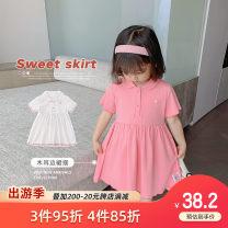 Dress White, pink female Qiqi Miaomiao 90cm,100cm,110cm,120cm,130cm Cotton 94% polyurethane elastic fiber (spandex) 6% summer princess Short sleeve Solid color cotton Pleats Y212QZ002 other 2 years old, 3 years old, 4 years old, 5 years old, 6 years old, 7 years old, 8 years old