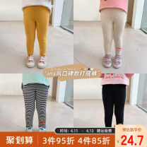 trousers Qiqi Miaomiao female 90cm,100cm,110cm,120cm,130cm Black, yellow, off white, blue, pink, black and white stripes spring and autumn trousers Cartoon There are models in the real shooting Leggings Leather belt middle-waisted cotton Cotton 95% polyurethane elastic fiber (spandex) 5% B111KZ047