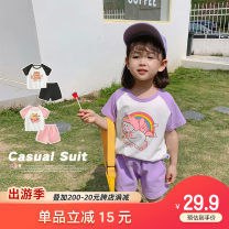 suit Qiqi Miaomiao Black, purple, pink, pink, pink sleeve + blue, yellow sleeve + pink 90cm,100cm,110cm,120cm,130cm female summer Short sleeve + pants 4 pieces or more Thin money There are models in the real shooting Socket nothing cotton YC12TZ013 other Cotton 100%