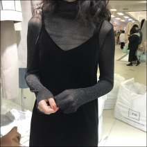 Dress Spring 2020 XS,S,M,L,XL,2XL,3XL,4XL Mid length dress Two piece set Long sleeves commute High collar Loose waist Solid color Socket A-line skirt routine camisole 18-24 years old Type A Korean version 81% (inclusive) - 90% (inclusive) Lace nylon