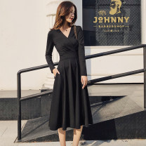 Dress Autumn 2020 black Xs, s, m, l, XL, 2XL, please ask customer service for delivery time Mid length dress singleton  Long sleeves commute V-neck High waist Solid color zipper A-line skirt routine Others Type A KAISILIDE Retro Pocket, button, zipper 31% (inclusive) - 50% (inclusive) knitting cotton