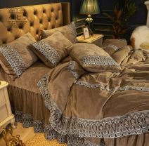 Bedding Set / four piece set / multi piece set Others Embroidery, quilting Solid color Other / other Others 4 pieces other Bedspread type European style