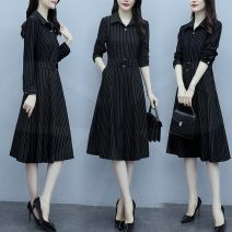 Dress Spring 2021 black M,L,XL,2XL,3XL longuette singleton  Long sleeves commute Polo collar middle-waisted stripe Three buttons A-line skirt routine Type A Korean version Button