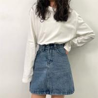 skirt Summer 2021 S,M,L,XL blue Short skirt Versatile High waist A-line skirt Solid color Type A 18-24 years old 81% (inclusive) - 90% (inclusive) Denim cotton Button