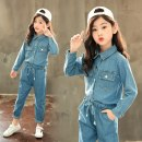 suit Other / other Picture color denim suit, black striped skirt, rose striped skirt The recommended height is 100cm for Size 110, 110cm for Size 120, 120cm for Size 130, 130cm for size 140, 140cm for size 150 and 150cm for size 160 female spring and autumn motion Long sleeve + pants 2 pieces routine