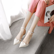 Low top shoes 35,36,37,38,39,34 Other / other Off white 7.5cm, black 7.5cm, off white 5.5cm, black 5.5cm Sharp point cloth Thick heel High heel (5-8cm) Shallow mouth PU Summer 2021 Flat buckle princess Adhesive shoes Youth (18-40 years old) Solid color rubber Single shoes Shallow mouth, buckle PU