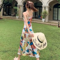 Dress Spring 2021 Starry sky oil painting S,M,L,XL Mid length dress singleton  Sleeveless V-neck Abstract pattern A-line skirt camisole Silk and satin nylon