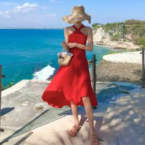 Dress Spring 2021 Bright red S,M,L longuette singleton  Sleeveless Sweet Crew neck High waist Solid color Socket Big swing Hanging neck style 25-29 years old Type A Other / other backless 31% (inclusive) - 50% (inclusive) Chiffon polyester fiber Bohemia