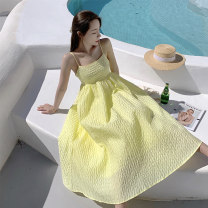 Dress Summer 2021 yellow S,M,L Mid length dress singleton  Sleeveless Sweet One word collar High waist Solid color Socket A-line skirt other camisole 25-29 years old Type A 31% (inclusive) - 50% (inclusive) brocade nylon Bohemia