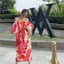 Dress Spring 2021 One shoulder Abstract printing S,M,L,XL longuette singleton  Sleeveless commute One word collar High waist Decor One pace skirt Others 18-24 years old Type H Lotus leaf edge 0221 - 02 polyester fiber