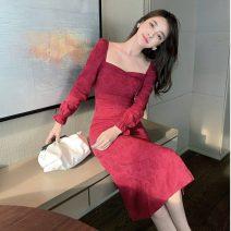 Dress Spring 2021 claret S,M,L,XL Mid length dress singleton  Long sleeves commute square neck A-line skirt Type A