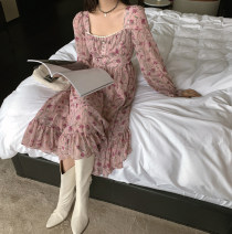 Dress Spring 2021 Pink flowers S,M,L Mid length dress singleton  Long sleeves commute square neck High waist Decor A-line skirt puff sleeve Type A Retro 91% (inclusive) - 95% (inclusive) other
