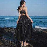 Dress Summer 2021 Pink, black S,M,L,XL longuette singleton  Sleeveless commute One word collar Solid color Socket Big swing Others 18-24 years old Type A backless Chiffon polyester fiber
