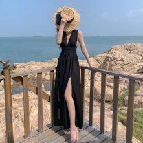 Dress Spring 2021 black S,M,L,XL Hanging neck style 18-24 years old Chiffon polyester fiber