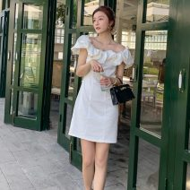 Dress Spring 2021 white S,M,L,XL Middle-skirt Short sleeve commute Lotus leaf collar Solid color Princess Dress Others 18-24 years old Type X Korean version