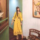 Dress Spring 2021 White, blue, yellow S,M,L,XL longuette singleton  three quarter sleeve commute V-neck High waist A-line skirt Type A ethnic style tassels