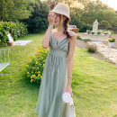 Dress Spring 2021 green S,M,L,XL Mid length dress singleton  Sleeveless Sweet V-neck High waist Solid color Socket camisole 18-24 years old Open back, fold other cotton Bohemia