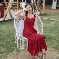 Dress Spring 2021 claret S,M,L,XL Mid length dress Sleeveless commute V-neck High waist Solid color Big swing camisole Type A Simplicity Bow, tie