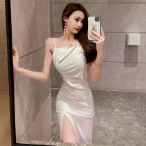 Dress Summer 2021 White, black S,M,L Miniskirt singleton  Sleeveless commute other middle-waisted Solid color zipper One pace skirt camisole 18-24 years old Type X zipper 0304-02 91% (inclusive) - 95% (inclusive) other polyester fiber