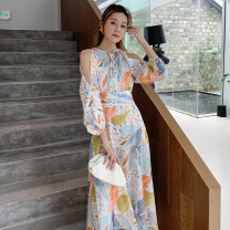 Dress Spring 2021 Picture color S,M,L,XL longuette singleton  Long sleeves Sweet Crew neck High waist Decor Socket A-line skirt bishop sleeve Others 25-29 years old Type A 81% (inclusive) - 90% (inclusive) Chiffon polyester fiber Countryside