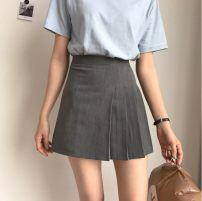skirt Summer of 2019 S,M,L grey Short skirt Versatile Natural waist A-line skirt Solid color Type A 18-24 years old 71% (inclusive) - 80% (inclusive) other Other / other