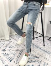 Jeans Youth fashion Others 28,29,30,31,32,33,34 Denim routine Micro bomb Ninth pants Other leisure summer youth Medium low back Slim feet Exquisite Korean style 2019 Pencil pants zipper