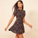 Dress Summer 2020 Color wave point S,M,L Short skirt singleton  Short sleeve Sweet Crew neck High waist Dot Socket A-line skirt puff sleeve Type A