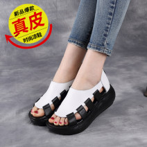 Sandals 35 36 37 38 39 40 Black white red Double skin mulching Fish mouth Muffin bottom High heel (5-8cm) Summer 2020 zipper leisure time Adhesive shoes Youth (18-40 years old) polyurethane daily Muffin and platform Roman style PU PU D158 Fashion sandals