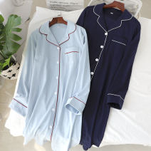 Nightdress Other / other Light blue, Navy M, L Simplicity Long sleeves Leisure home longuette spring Solid color Small lapel cotton More than 95% pure cotton