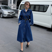 Dress Autumn 2020 Picture color S,M,L Mid length dress singleton  Long sleeves square neck Loose waist Solid color Single breasted A-line skirt routine Others Type A Frenulum 91% (inclusive) - 95% (inclusive) other cotton