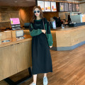 Dress Spring 2021 Green, black XS,S,M,L longuette singleton  Long sleeves Crew neck Loose waist letter Socket A-line skirt routine 18-24 years old Type H Splicing More than 95% knitting cotton