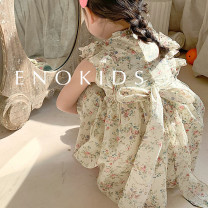 Dress Rice ground flower female Other / other 80cm,90cm,100cm,110cm,120cm,130cm Cotton 95% other 5% summer cotton Princess Dress 18 months, 2 years old, 3 years old, 4 years old, 5 years old, 6 years old, 7 years old, 8 years old, 9 years old