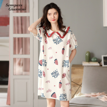 Nightdress Sempers Giannini M (for 155-160, weighing less than 105 kg), l (for 160-165, weighing 105-120 kg), XL (for 165-170, weighing 120-135 kg), XXL (for 170-175, weighing 135-150 kg) Short sleeve Middle-skirt summer letter cotton pure cotton SGB123040701