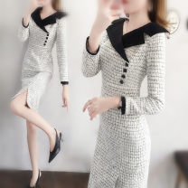 Dress Winter 2020 Picture color S,M,L,XL,2XL Middle-skirt singleton  Long sleeves commute Doll Collar High waist lattice zipper One pace skirt routine Others 25-29 years old Type X Ol style zipper 31% (inclusive) - 50% (inclusive) Wool