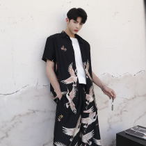 Other suits Short sleeve summer Other / other black M L XL Cropped Trousers shirt teenagers 2018 Cotton polyester