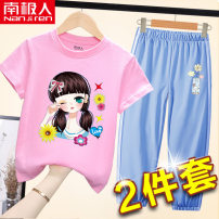 suit NGGGN 110cm 120cm 130cm 140cm 150cm 160cm female summer leisure time Short sleeve + pants 2 pieces Thin money nothing Cartoon animation cotton NDXFWK-1 Class B Cotton 100% Spring 2021 Chinese Mainland Shandong Province