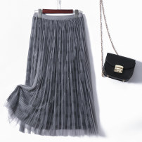 skirt Winter 2020 Average size Grey, black, sapphire, coffee, beige Mid length dress grace High waist Pleated skirt Solid color Type A Phila series-83088 D More than 95% other other Pleats, gauze, stitching