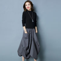 Dress Autumn of 2019 S,M,L,XL,2XL,3XL longuette Fake two pieces Long sleeves commute Half high collar Elastic waist Irregular skirt routine Type A Retro 51% (inclusive) - 70% (inclusive) knitting