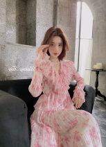 Dress Spring 2021 Cherry Blossom powder XS,S,M,L tailored collar 51% (inclusive) - 70% (inclusive) Cellulose acetate