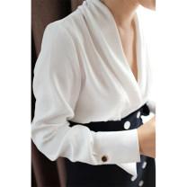 shirt milky white S,M,L Summer 2020 silk 30% and below Long sleeves Original design Regular V-neck Socket routine Solid color Straight cylinder endlessly
