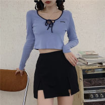 Women's large Spring 2021, summer 2021, autumn 2021 Blue top, pink top, trouser skirt Large XL, large XXL, large XXL, large XXXXL, large L T-shirt Fake two pieces commute Self cultivation moderate Socket Short sleeve Solid color Crew neck routine Cotton, others, polyester Three dimensional cutting