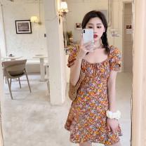 Women's large Summer 2020 Orange floral skirt M (90-105 kg recommended), l (105-120 kg recommended), XL (120-140 kg recommended), 2XL (140-160 kg recommended), 3XL (160-180 kg recommended), 4XL (180-200 kg recommended) Dress singleton  commute Self cultivation moderate Socket Short sleeve square neck
