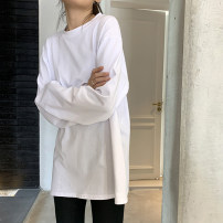 Women's large Spring 2020, autumn 2020 White regular, black regular, white perforated M [recommended 90-100 Jin], l [recommended 100-120 Jin], XL [120-140 Jin], 2XL [140-160 Jin recommended], 3XL [160-180 Jin recommended], 4XL [180-200 Jin recommended] T-shirt singleton  commute easy moderate Socket