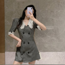 Women's large Summer 2020 grey Large L, large XL, large XXL, large XXL, large XXXXL, large XXXXL, M Self cultivation Short sleeve Medium length 18-24 years old 81% (inclusive) - 90% (inclusive)