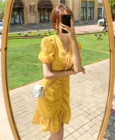 Women's large Summer 2021 yellow S,M,L,XL Dress singleton  commute Self cultivation thin Socket Short sleeve Solid color Korean version V-neck other fold puff sleeve 18-24 years old 81% (inclusive) - 90% (inclusive) Short skirt Pencil skirt